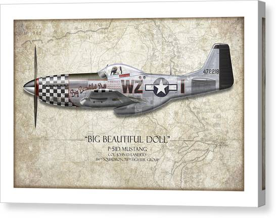 Pinup Canvas Print - Big Beautiful Doll P-51d Mustang - Map Background by Craig Tinder