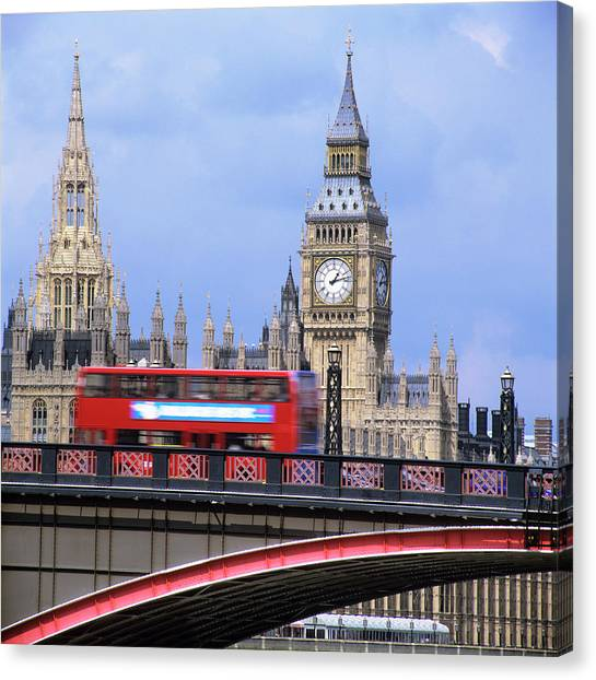 Big Ben And The Houses Of Parliament Canvas Print by Mark Thomas/science Photo Library