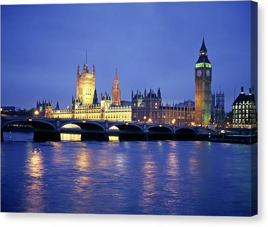 Palace Of Westminster Canvas Print - Big Ben And The Houses Of Parliament by Martin Riedl/science Photo Library
