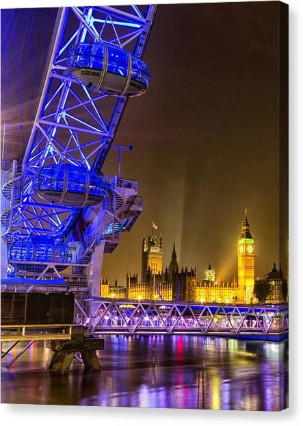 London Eye Canvas Print - Big Ben And The London Eye by Ian Hufton