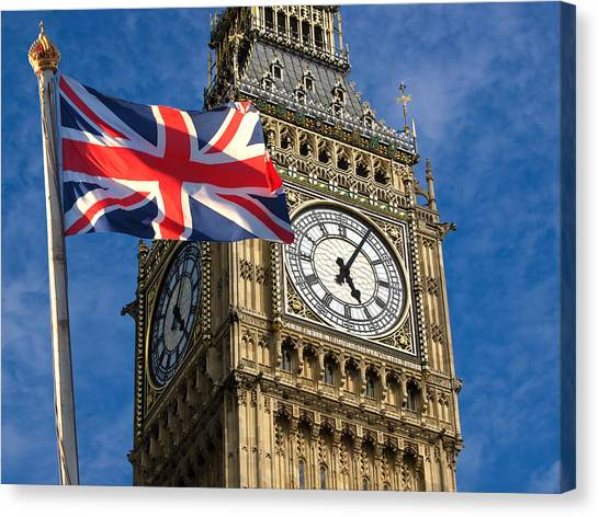 Big Ben And Union Jack Canvas Print by Neven Milinkovic