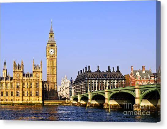 Parliament Canvas Print - Big Ben And Westminster Bridge by Elena Elisseeva