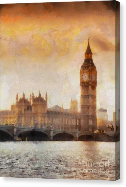Parliament Canvas Print - Big Ben At Dusk by Pixel Chimp