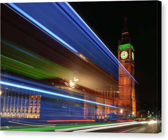 Big Ben Light Trails Canvas Print by Ivelin Donchev