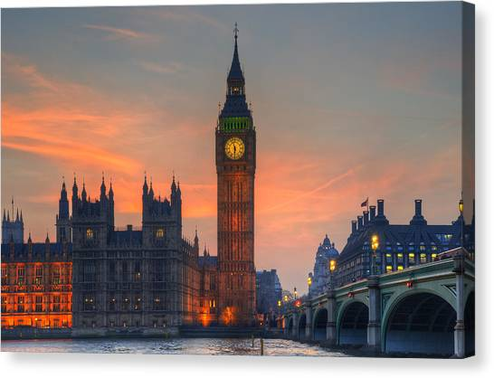 London Canvas Print - Big Ben Parliament And A Sunset by Matthew Gibson