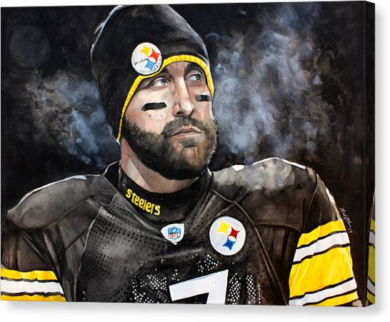 Ben Roethlisberger Canvas Print - Big Ben Roethlisberger  by Michael  Pattison
