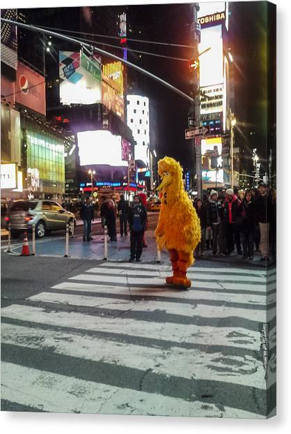 Big Bird On Times Square Canvas Print