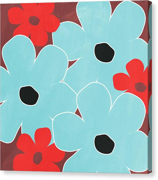 Big Red Canvas Print - Big Blue Flowers by Linda Woods