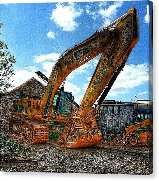 Equipment Canvas Print - Big Cat Little Cat. #excavator by Brian Lyons