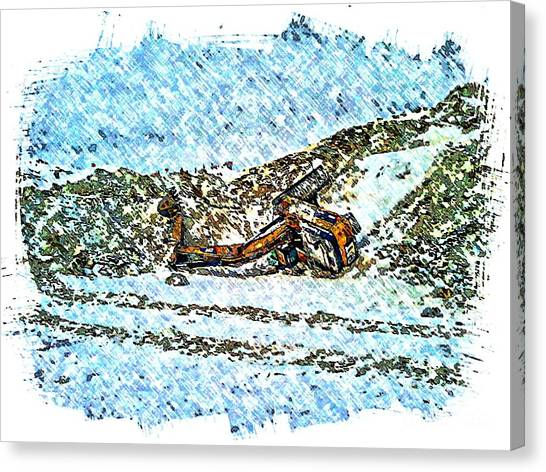 Caterpillers Canvas Print - Big Cat - Sometimes They Fall - Winter - Snow - Slippery Slope  by Barbara Griffin