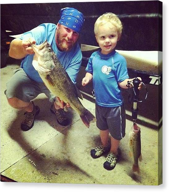 Bass Fishing Canvas Print - Big Catch! #bass #riverrats #westin by Ashley Waldrop