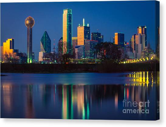 Dallas Skyline Canvas Print - Big D Reflection by Inge Johnsson