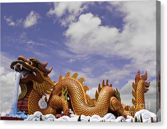 Big Dragon Statue And Blue Sky With Cloud In Thailand Canvas Print