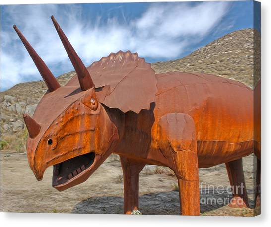 Big Fake Dinosaur - Triceratops Canvas Print