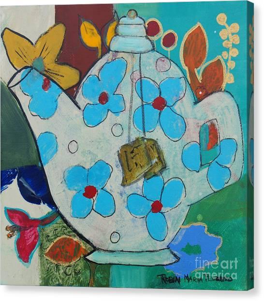 Big Floral Tea Pot Canvas Print