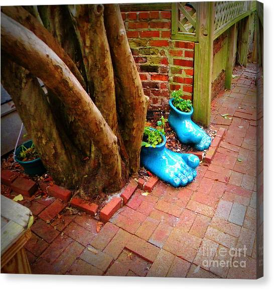 Big Foot Left His Filo Shoes Behind Canvas Print by Lorraine Heath