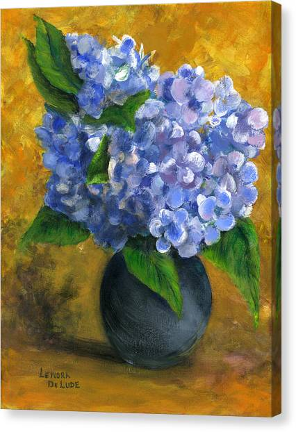 Big Hydrangeas In Little Black Vase Canvas Print