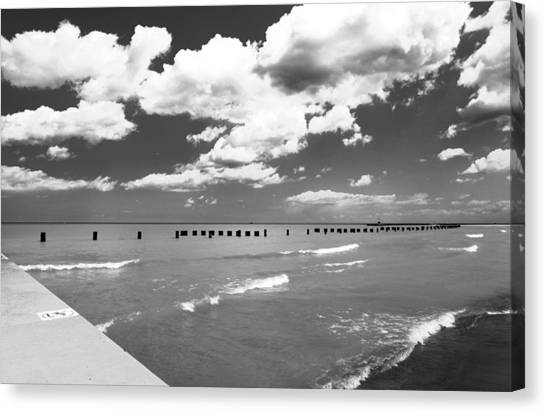 Big Lake Clouds Black White Canvas Print