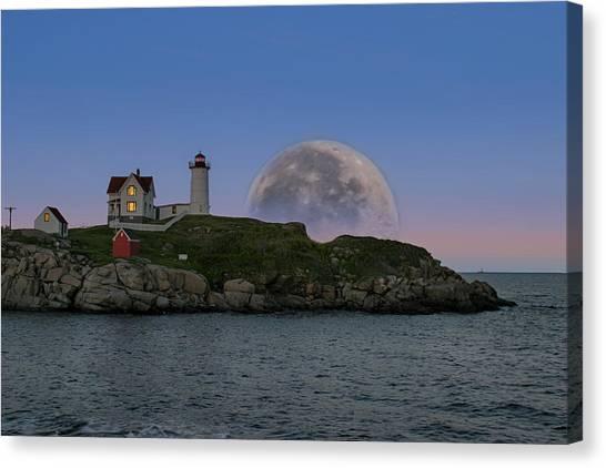 Big Moon Over Nubble Lighthouse Canvas Print