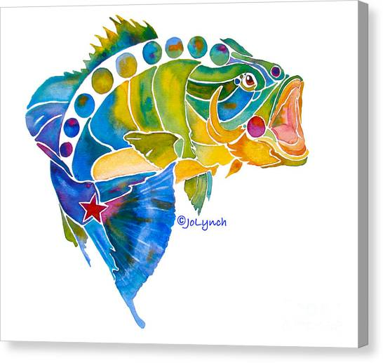 Big Mouth Bass Whimsical Canvas Print by Jo Lynch