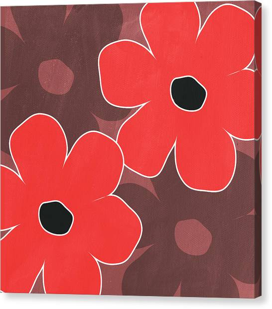 Big Red Canvas Print - Big Red And Marsala Flowers by Linda Woods