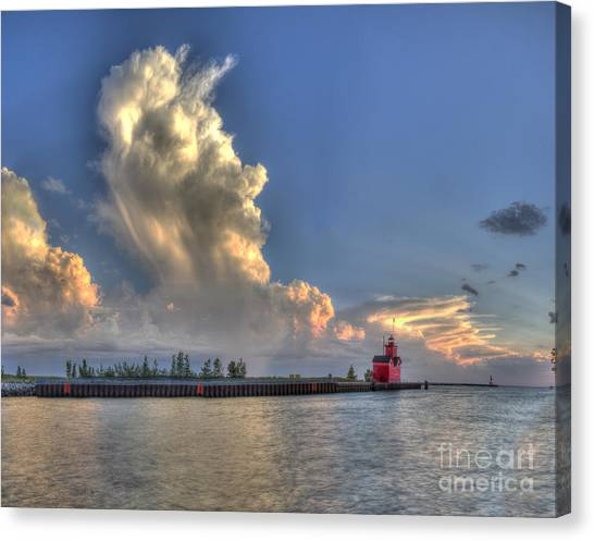Big Red Canvas Print - Big Red Lighthouse In Holland by Twenty Two North Photography