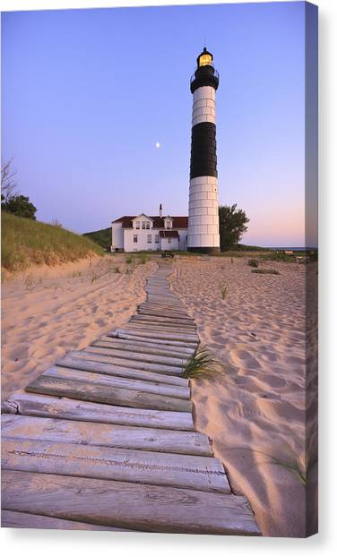 Beach Sunsets Canvas Print - Big Sable Point Lighthouse by Adam Romanowicz