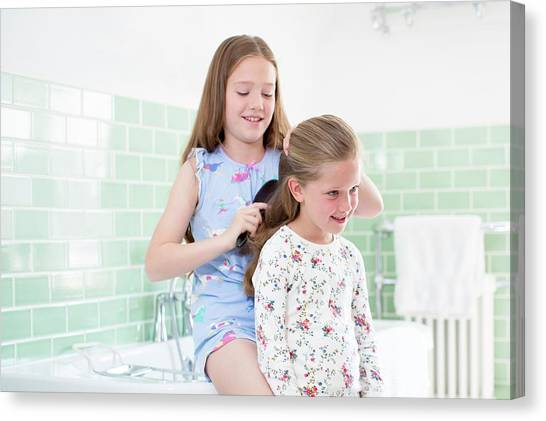 Big Sister Canvas Print - Big Sister Brushing Little Sister's Hair by Science Photo Library