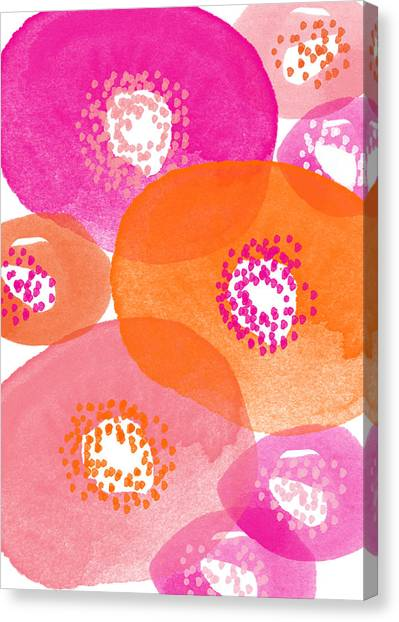 Iphone Case Canvas Print - Big Spring Flowers- Contemporary Watercolor Painting by Linda Woods