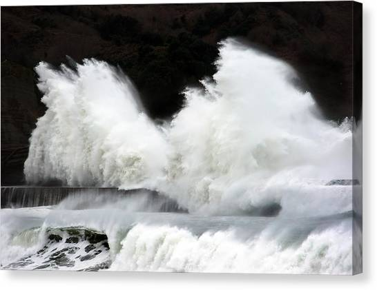 Big Waves Breaking On Breakwater Canvas Print