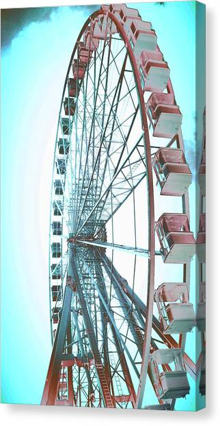 Big Red Canvas Print - Big Wheel Blue Red by Candy Floss Happy