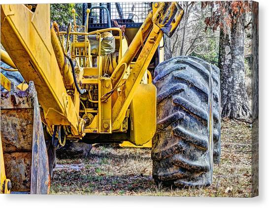 Backhoes Canvas Print - Big Yellow by JC Findley