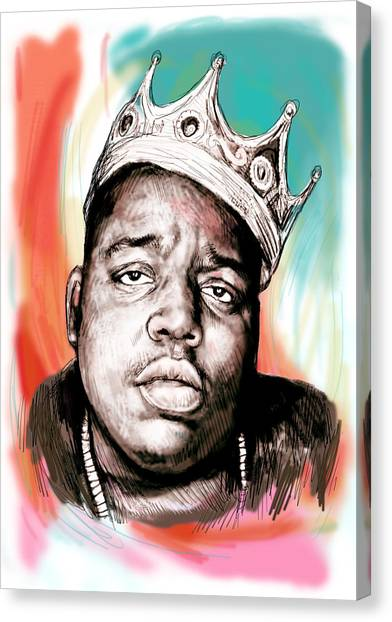 Hip Hop Canvas Print - Biggie Smalls Colour Drawing Art Poster by Kim Wang