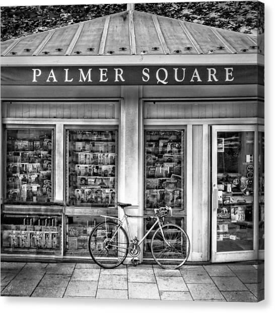 Bike At Palmer Square Book Store In Princeton Canvas Print