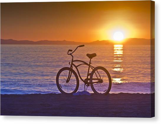 Rollerblading Canvas Print - Bike At Sunset In Newport Beach by Harald Vaagan