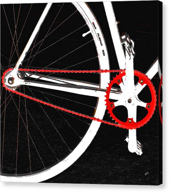 Bicycle Canvas Print - Bike In Black White And Red No 2 by Ben and Raisa Gertsberg