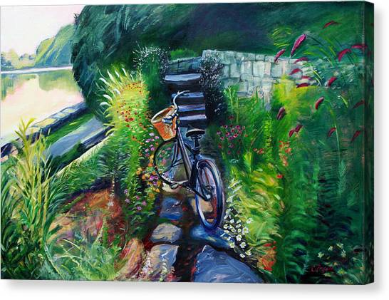 Bike In The Butterfly Garden Canvas Print by Colleen Proppe