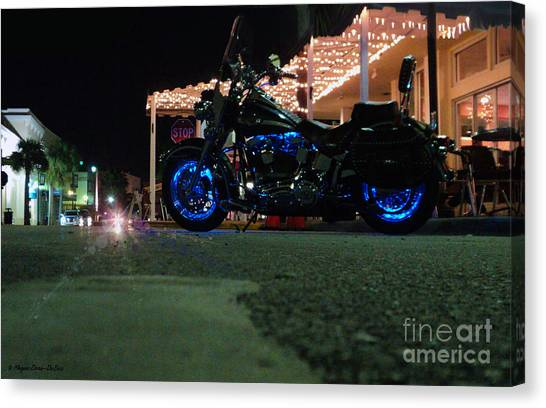 Bike Night In Blue Light Canvas Print