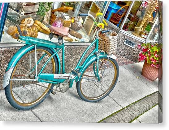 Bike Ride To The Bake House Canvas Print by John Debar