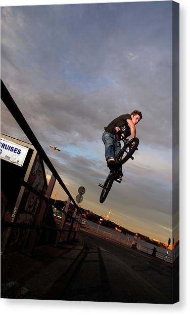 Freeriding Canvas Print - Bike Rider Jumping To The Street by Patrik Lindqvist