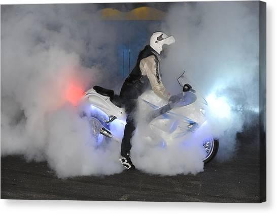 Biker Burn Out Canvas Print by Joe Oliver