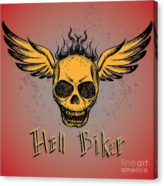 Biker Emblem, Logo Or Tattoo, Hand Canvas Print by Naum