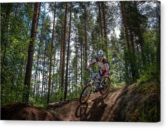 Biker On Trail Canvas Print