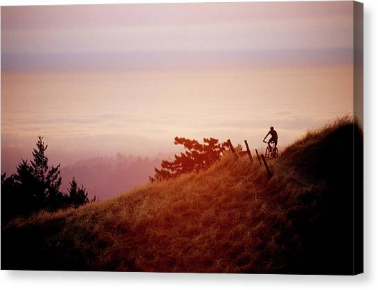 Dirt Bikes Canvas Print - Biker Riding In Saratoga, California by Scott Markewitz
