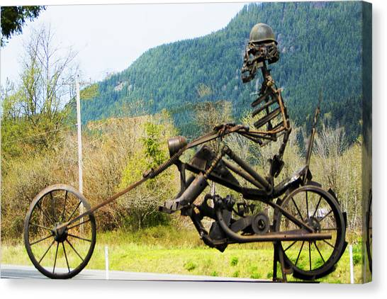 Biker Canvas Print by Ron Roberts