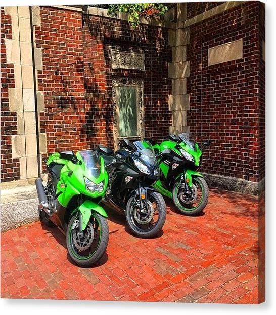 Harvard University Canvas Print - #bikes #motorcycle #boston #harvard by Shawn Hope