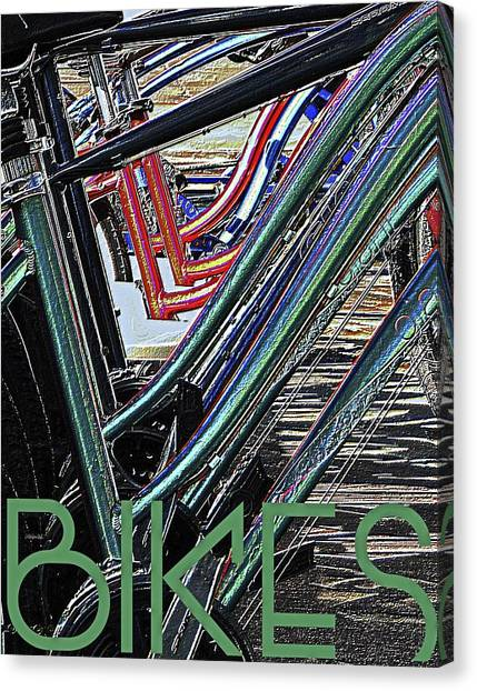Bikes Poster -- B Canvas Print by Brian D Meredith