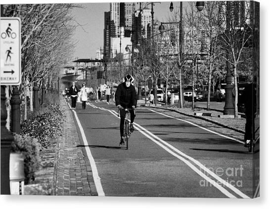 Joe Dimaggio Canvas Print - bikeway with sign next to West Side Highway new york city manhattan by Joe Fox