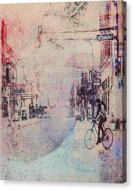 Biking In The City Canvas Print