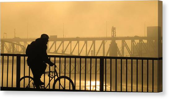 Biking The Bridges Canvas Print